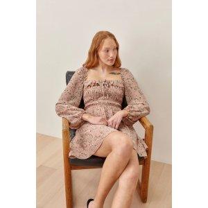 ReformationMorris Smocked Long Sleeve Babydoll Dress