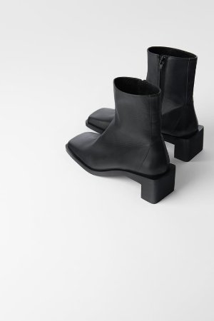 HEELED LEATHER SQUARE TOE ANKLE BOOTS - Low-heeled boots-Boots-SHOES-WOMAN | ZARA United States