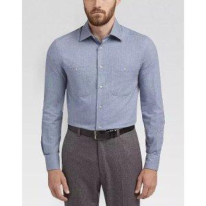 Joseph AbboudLight Blue Herringbone Flannel Sport Shirt
