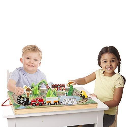 Melissa & Doug 儿童木质火车+轨道套装,可折叠收纳
