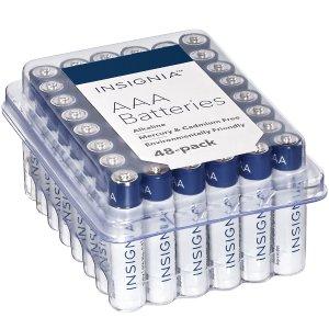 低至$10.79+包邮Insignia AA 5号 / AAA 7号 碱性电池 48颗