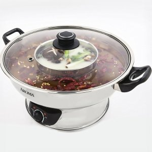 Dealmoon Exclusive:AROMA 5-Qt Electric Shabu Hot Pot ASP-600