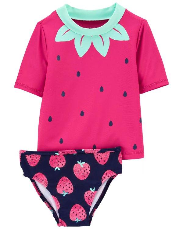 小童草莓防晒泳衣套装