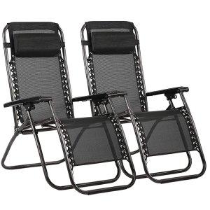 Zero Gravity Chair Patio Lounge Recliners Adjustable Folding Set of 2