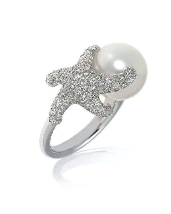 18K白金海星钻石珍珠戒指