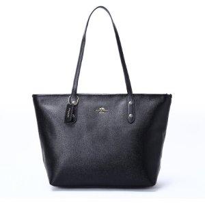 含税包邮到手¥759COACH 蔻驰 女士黑色牛皮单肩背托特包