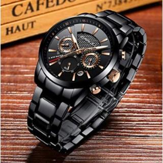 $21.47(原价$31.99)CRRJU 男士石英防水手表,多色可选