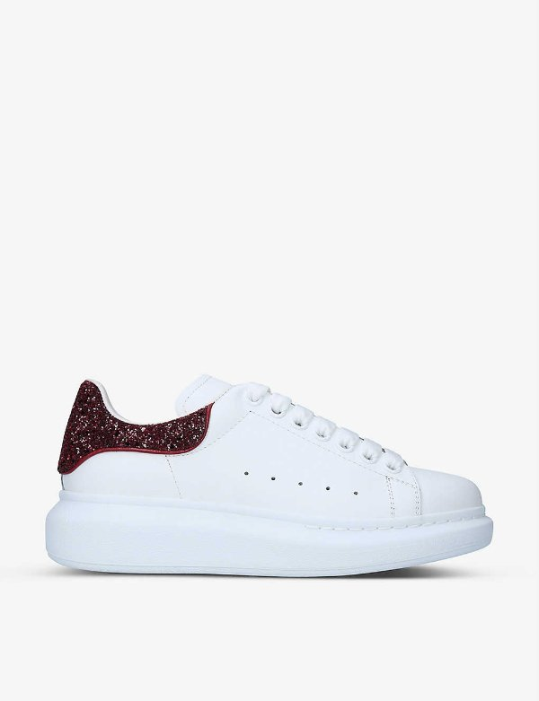 酒红闪尾小白鞋