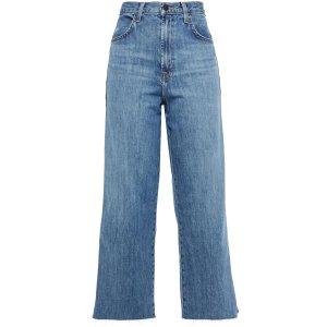 J BrandJoan cropped metallic-trimmed high-rise wide-leg jeans