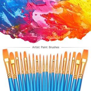 $7(原价$17.41)白菜价:尼龙毛画笔刷20支 10种笔刷头 水彩绘画、美甲彩绘