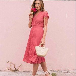 低至$19  丝质印花连衣裙$24收Lumiere 夏季法式复古美裙闪购热卖