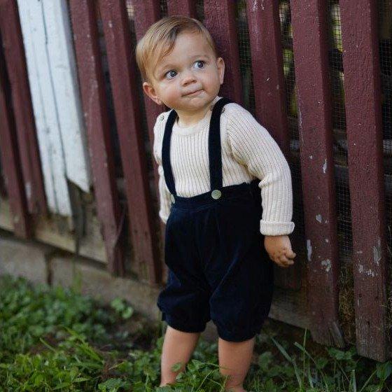 儿童丝绒背带裤