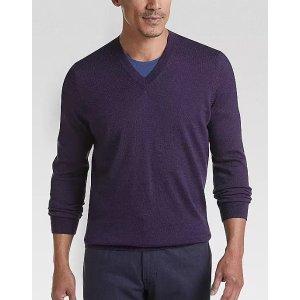 Joseph Abboud2 For $75Purple 37.5 Technology V-Neck Sweater