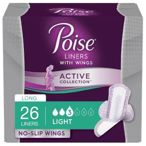 PoiseActive Collection Light Absorbancy Incontinence Liners with Wings 26.0ea