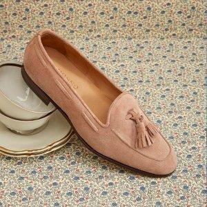 码全,麂皮超柔软粉色流苏乐福鞋