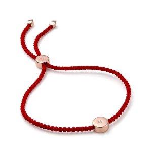 Monica Vinader玫瑰金扣小红绳