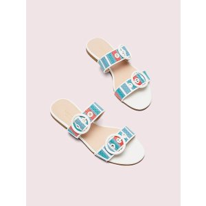 Kate Spademarine striped raffia slide sandals