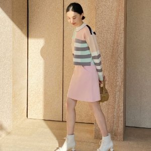 低至4.8折+额外6折最后一天:Club Monaco 春夏必备 $95收封面同款樱花粉短裙