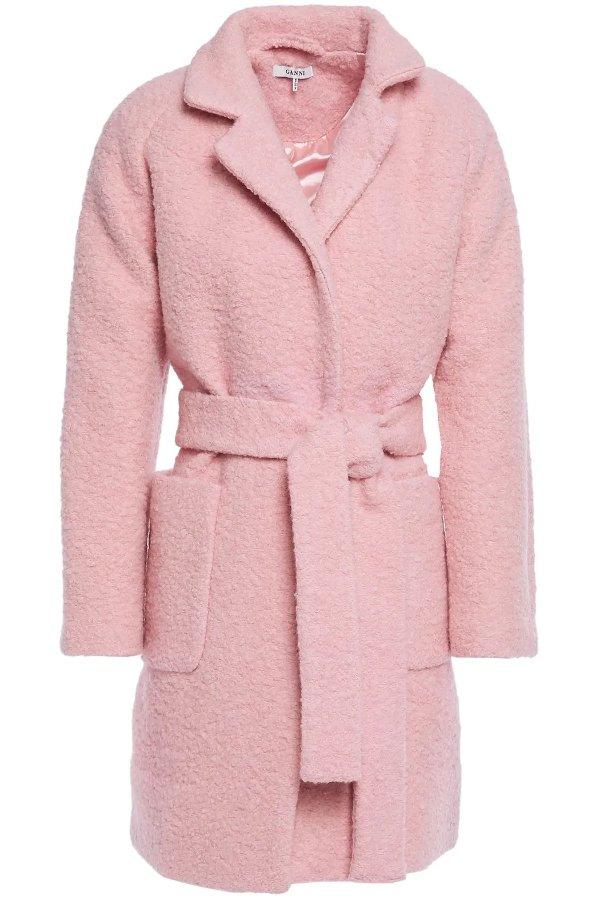 粉色羊毛风衣外套