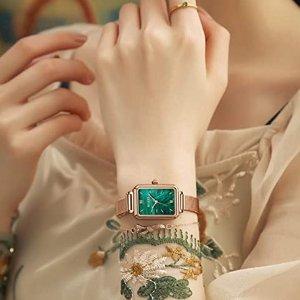 皮表带款$26.89+包邮白菜价:OLEVS 孔雀石复古女表,高颜值优雅绿盘