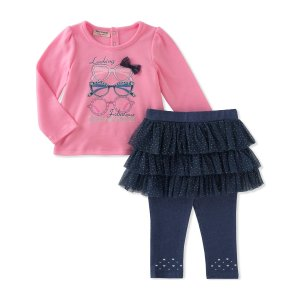 Juicy CouturePink & Navy 'Looking Fabulous' Tunic & Skirted Leggings - Infant