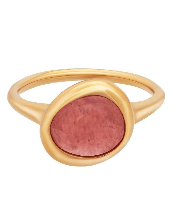 18k玫瑰金红纹石戒指