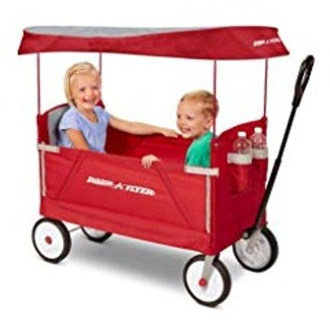 Amazon Radio Flyer 3-In-1 EZ Folding Wagon with Canopy for kids and cargo
