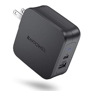 RAVPower 61W Type C PD 3.0 Power Adapter, Dual Port USB C Wall Charger