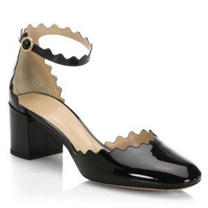 $399.99包邮Chloé 黑色花瓣中跟鞋 码全
