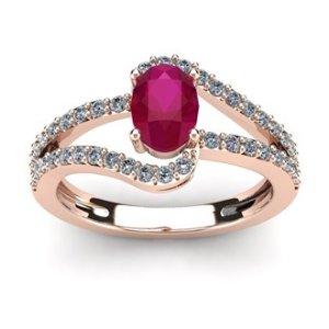 d12850e64 SuperJeweler1 1/3 Carat Oval Shape Ruby and Fancy Diamond Ring In 14 Karat  Rose