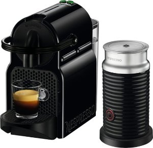 Nespresso - Inissia Espresso Machine with Aeroccino Milk Frother by DeLonghi - Intense Black