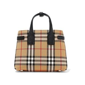 BurberryTextured leather-trimmed checked twill tote