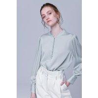 蓝绿色刺绣真丝衬衫