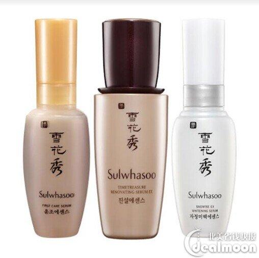 3 serums include: First care Activating Serum Ex 8ml, Timetreasure  Renovating Serum Ex 5ml ,Snowise Whitening Serum Ex 8ml。