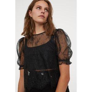H&M蕾丝泡芙袖上衣