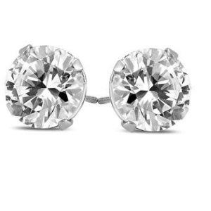 $7481 1/4 克拉14K白金钻石耳钉