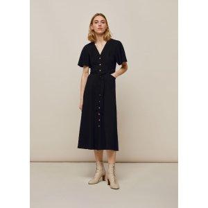 Black Anita Frill Sleeve Dress | WHISTLES | Whistles