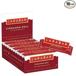 LARABARGluten Free Bar, Cinnamon Roll, 1.6 oz Bars (16 Count), Whole Food Gluten Free Bars, Dairy Free Snacks