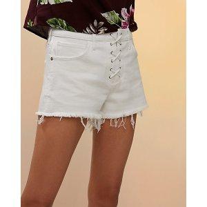 ExpressMid Rise Lace-up Cutoff Denim Shorts