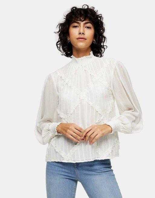 lace trim宫廷风衬衣