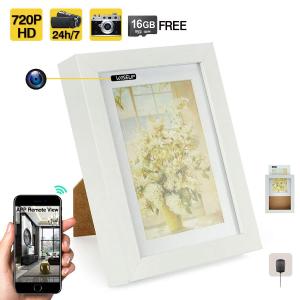 $69.59(原价$151.99)闪购:WISEUP 相框带1280x720P高清室内WIFI秘密监控摄像头