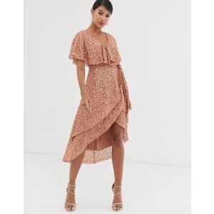 midi dress with cape back and dip hem in scatter sequin | ASOS