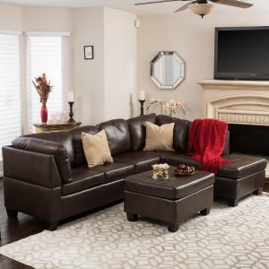 Noble House 3-Piece Brown Tufted Seat PU Leather Sectional and Ottoman Set