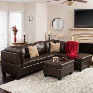 $447.58Noble House 3件套人造革转角沙发 带脚凳