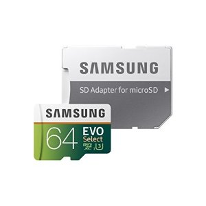 Samsung64GB 100MB/s (U3) MicroSDXC EVO Select Memory Card with Adapter (MB-ME64GA/AM)