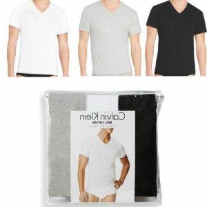 $38.54(原价$46)Calvin Klein 男士纯棉V领T恤三件装 舒适好穿