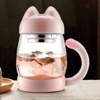 BZY1 14oz 猫咪玻璃水杯,带茶滤,多色可选