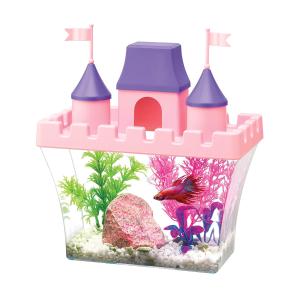 $14.9(原价$25.98)Aqueon 小型鱼缸 斗鱼宝宝的粉红梦幻城堡 含布景装饰