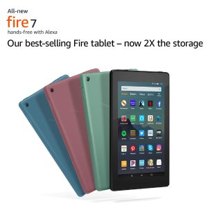 买2个$49.98Amazon 2019新款 Fire 7 16GB 平板电脑