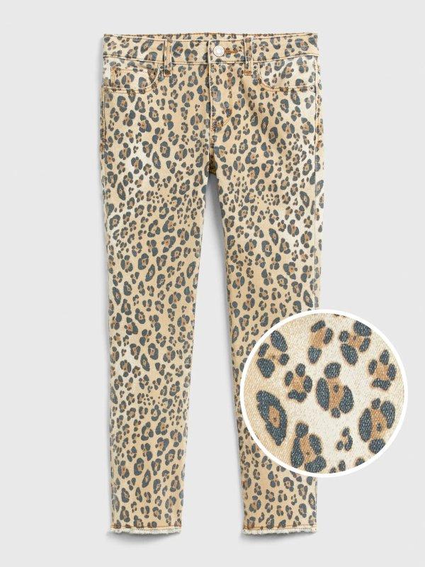 豹纹图案 女童、大童弹力牛仔裤